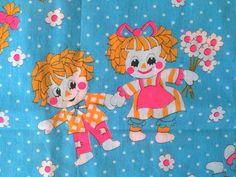 60s Big Eyed Raggedy Ann Andy Vintage Fabric Cute Hot Pink Neon Daisy Flower Print Bright Blue Polka Dots Mid Century Kitsch Cute Bright Fun