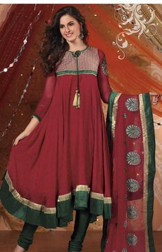Red Full Sleeve Faux Georgette Long Anarkali Salwar Kameez 19282