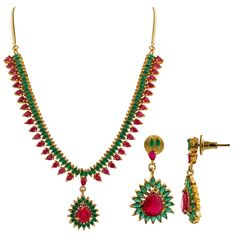 Gold Plated Simulated Ruby & Emerald Indian Ethnic Earrings Necklace Set