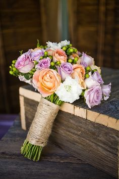 rustic wood wedding decor, peach and purple bouquet, country wedding decor ideas #2014 Valentines day ideas #rustic wedding ideas www.dreamyweddingideas.com