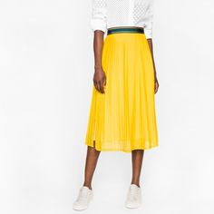 Paul Smith Women's Yellow Silk-Blend Pleated Skirt (£495) ❤ liked on Polyvore featuring skirts, stripe skirts, white skirt, short skirts, striped pleated skirt and pleated skirts