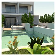 The pool area, is designed on a higher level, following the ground's inclination. This way, it becomes visible from the inside while at the same time it defines the outdoor living room area. Swimming Pool Designs, Swimming Pools, Exterior Design, Interior And Exterior, Outdoor Living, Outdoor Decor, Beach Hotels, Private Pool, Patio