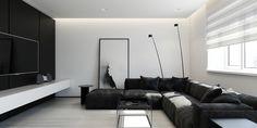 décoration noir et blanc tableau-moderne-canapé-angle-meuble-tv-suspendu