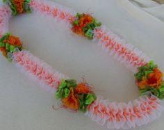 Peach Lace with Ilima ribbon lei -    Edit Listing  - Etsy