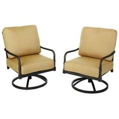 Hampton Bay Madison Motion Patio Lounge Chairs With Textured Golden Wheat  Cushions (2 Pack