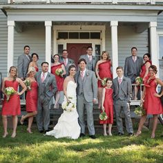 Gray and Red Wedding Party Attire // photo by: Bliss Eleven Studio // http://www.theknot.com/weddings/album/a-contemporary-rustic-wedding-in-defiance-mo-140329