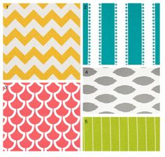 Custom baby bedding  Coral Yellow Turquoise Green by GiggleSixBaby, $365.00