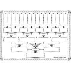 Free - Family tree template 5 generations printable empty to fill in oneself - Wellbert généalogie
