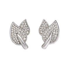 Pavé Diamond Leaf Motif Earrings