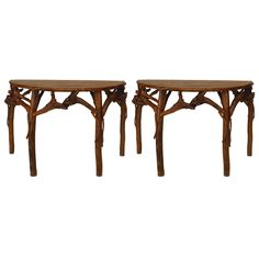 Pair of Modern Adirondack Style Half Round Console Tables | See more antique and modern Console Tables at https://www.1stdibs.com/furniture/tables/console-tables