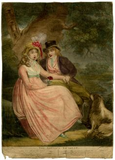 This work titled 'The Lover's Retreat' depicts two lovers seated under a tree holding hands. Hand-coloured mezzotint with some etching, 1796.