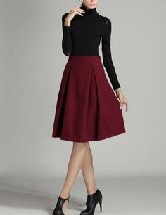 burgundy skirt, high waist skirt, wool skirt - Lyfie