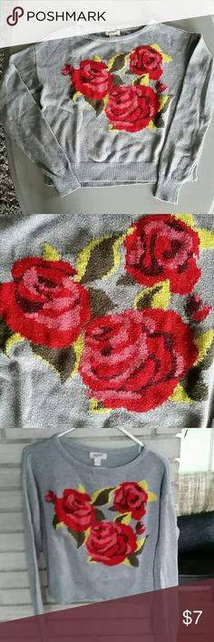 Floral Gray & Red Sweater Red roses in the middle give this gray sweater a unique look. Sweater is shorter but not crop. Gently used.  Bundle and save! Smoke free closet! Arizona Jean Company Sweaters Crew & Scoop Necks