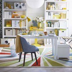 Parsons Desk with Drawers - White back shelving. Yellow and blue accents