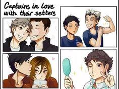 Oikawa, Kuroken, Daisuga, Bokuaka, captains in love with their setters, lol oikawa is both