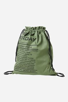 Cheap Monday Rapid Army Logo Gym Bag in Bleached Olive