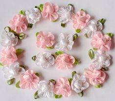 20 Handmade Flowers In Lt Pink, White  MY-042- 08 Ready To Ship