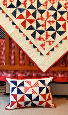 All American pinwheel quilt, love the red, white and blue-ness of it. Cute prairie points just make it pop. Nice button detail on the pillow. Blue Quilts, Scrappy Quilts, Quilting Projects, Quilting Designs, Quilting Classes, Patriotic Quilts, Patriotic Crafts, July Crafts, American Quilt