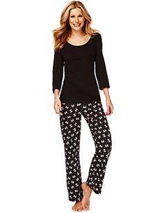 Black Mix Pure Cotton 3/4 Sleeve Bow Print Pyjamas