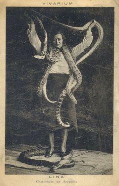 Lina the snake charmer postcard 1920 (Fr.)