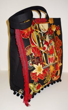 Black Canvas Tote With Custom Asian Fabric Applique Design by paulagsell, $30.00