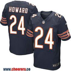 Men's Chicago Bears #24 Jordan Howard Navy Blue Team Color Stitched NFL Nike Elite Jersey