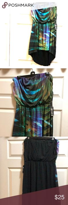 NWT - Express multicolor strapless dress NWT -Express strapless dress  multicolored front of dress  Back of  dress is black The back of dress is longer than front(as seen in photo.  Much cuter on than on hanger in photo. Express Dresses