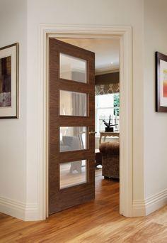 Orta G8514 Walnut  (FD30 ) bespoke fire door  - beautiful glazed door feauture v-groove detail in solid walnut