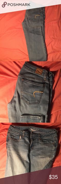 Light Blue American Eagle Jeans Perfect Jeans.... only worn twice. No rips, broken belt loops, button nor zipper! 😁 American Eagle Outfitters Jeans Skinny