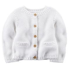 """Carter's Girls White Knit Cardigan with Pockets - Carters  - Babies""""R""""Us"""
