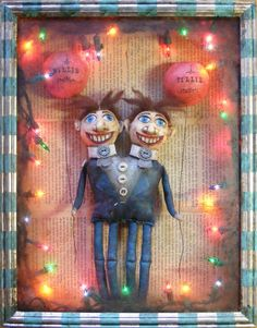 Sideshow Conjoined Twins - Light-up Assemblage featuring handmade cloth and clay sideshow characters by Yesterday's Trash via Etsy.