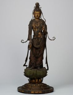Standing Bosatsu (Bodhisattva), Kamakura period, 13th century, Japan, wood with gold pigment, polycromy, cut gold leaf and inlaid crystal eyes and lips