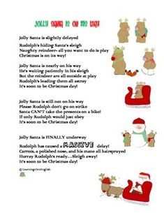 """Jolly Santa is suppose to be on his way but Rudolph is being just a little naughty and causing delays""""Jolly Santa is slightly delayed Rudolphs hiding Santas sleighNaughty reindeer- all you want to do is play Christmas is on its way! ...A FUN FUNKY ORIGINAL CHRISTMAS POEM - Don't worry Santa does eventually get on his way by polishing Rudolph's nose and hairspraying his mane mycutegraphics.com- thank you for the cute graphicsEnjoyLearningthruEnglish Christmas Poems, Christmas Hat, Handmade Christmas, Christmas Crafts, Wooden Reindeer, Reindeer Craft, Personalised Christmas Cards, Xmas Cards, Funky Pigeon"""