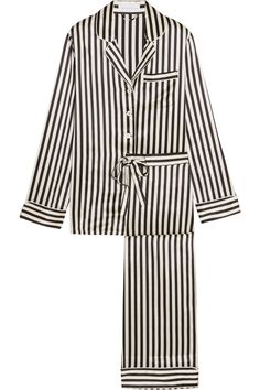 Inspired by styles worn by Coco Chanel, Olivia von Halle's 'Lila' pajama set is crafted from smooth silk-satin with black and champagne stripes. The top is finished with lustrous mother-of-pearl buttons, while the pants have a flexible drawstring waist. Slip yours on when relaxing at home.