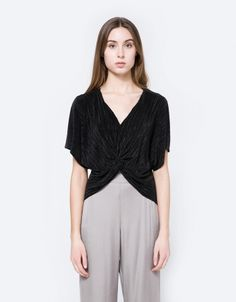 Micro Pleat Twisted Blouse