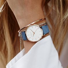 Crafted in a soft nubuck leather in the blue color of the season, the new West Village Airy Blue has a velvety finish and is adorned with a delicate chain ring on the strap to add a vintage-chic touch. Available at www.rosefieldwatches.com