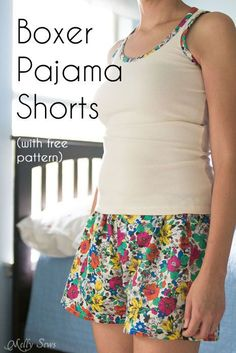 Free shorts sewing pattern will fit hip sizes 34″-38″ – which is about a women's XS-Women's Medium. by Melly Sews