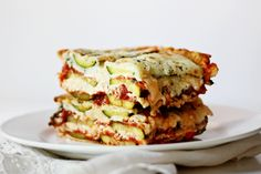 Veggie Lasagna with plenty of protein from the cheese. zucchini, fresh spinach, marinara, cottage cheese, egg, mozzarella and add parmesan.