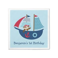 Nautical Pirate Personalized Napkins