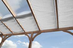 White shaded interior patio umbrella various sizes Peddy Shield Zelt Camping, Sun Sails, K Om, Getaway Cabins, Diy Garland, Pergola Designs, Sun Shade, Back Gardens, Fabric Shades
