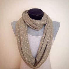 Fall infinity scarf/ chic super soft graycream and by Msfiggys, $30.00