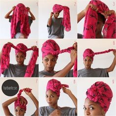 A stylish look for New Year& Eve? Should you have a turban .- Ein stilvoller Look für Silvester? – Haus Dekoration Mehr First we wanted to show you how an African turban can tie - Tie A Turban, Turban Style, Turban Headbands, Bad Hair Day, My Hair, Hair Wrap Scarf, Scarf Head Wraps, Curly Hair Styles, Natural Hair Styles