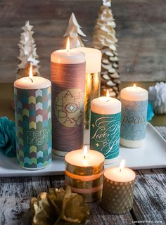 Christmas Candle Wraps - Learn how to decorate store-bought candles  #candles #craft