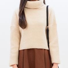 Funnel Neck Knit Sweater | MIX X MIX | Shop Korean fashion casual style clothing, bag, shoes, acc and jewelry for all