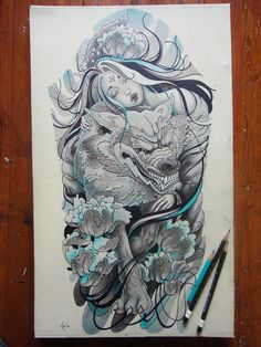 A Beautiful Girl Holds Her Wolf In This Fantasy Tattoo Sketch ...