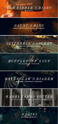 Am i the only one to notice that Voldemort took a thing from each house other then Gryfindor. So Harry must be Gryffindor<< Harry was an accidental horcrux. When Voldemort killed his parents his soul was so unstable it split and made Harry a horcrux Harry Potter World, Objet Harry Potter, Classe Harry Potter, Harry Potter Ron Weasley, Mundo Harry Potter, Harry James Potter, Harry Potter Quotes, Harry Potter Universal, Hermione Granger