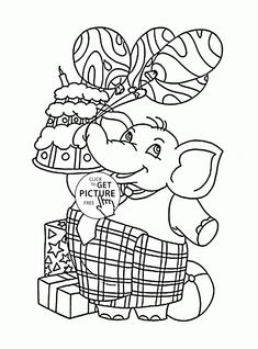 Funny Boy And Birthday Present Balloons Coloring Page For Kids Holiday Pages Printables Free