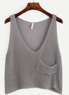 crochet tank tops Grey Knit Crop Tank Top With Front Pocket -SheIn(Sheinside) - top to do Crochet Tank Tops, Knitted Tank Top, Outfit Essentials, Cropped Tank Top, Crop Tank, Embellished Crop Top, Diy Kleidung, Summer Knitting, Knit Vest