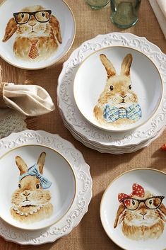 The quartet on this ceramic Easter Bunny Salad Plate Set from Pier 1 certainly dressed to look the part of experts on lettuce, carrots, tomatoes and cabbage.
