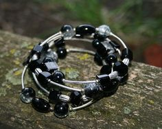 black bracelet glass pearl bracelet black glass pearls